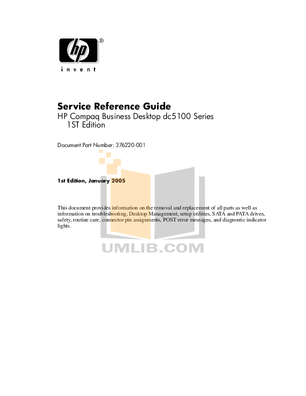 Download free pdf for HP Compaq dc5100 SFF Desktop manual