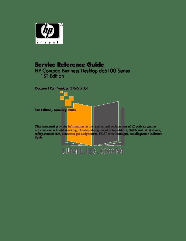 Download free pdf for HP Compaq dc5100 SFF Desktop manual