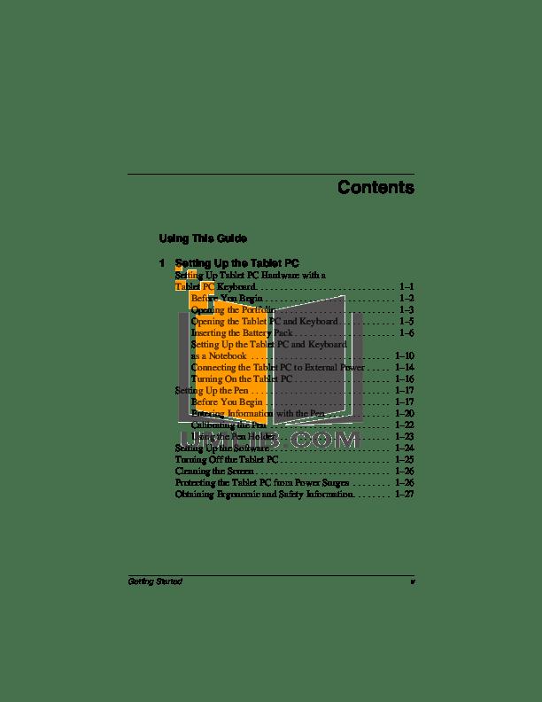 PDF manual for HP Laptop Compaq tc1000