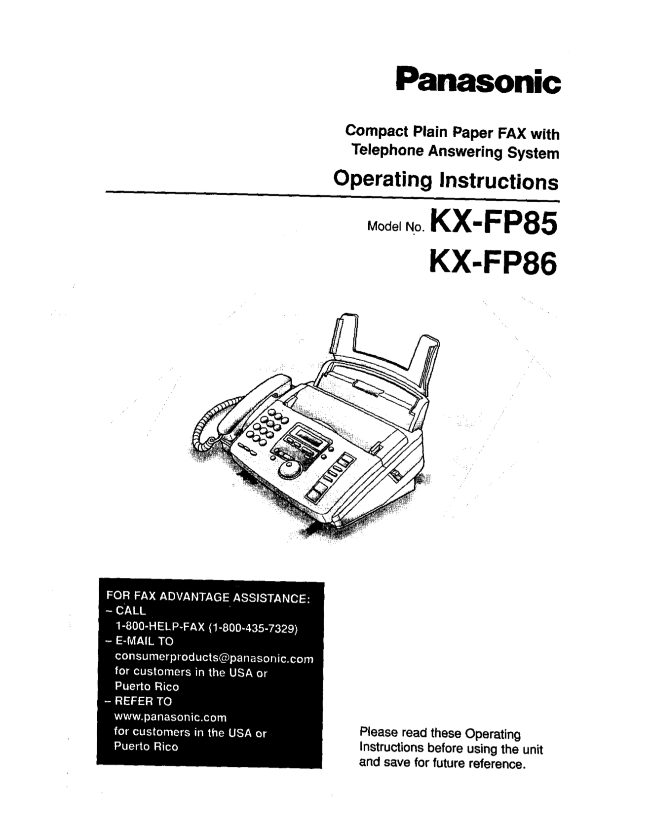Download free pdf for Panasonic KX-FP85 Fax Machine manual