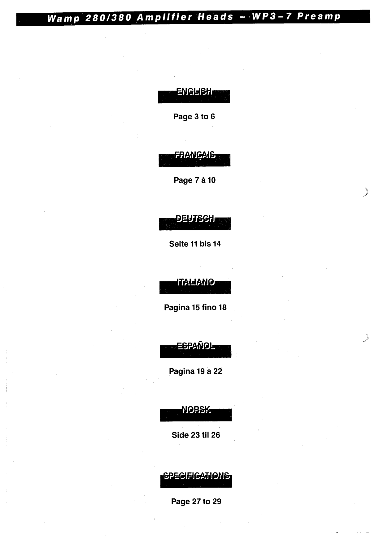 PDF manual for Warwick Amp Wamp 380