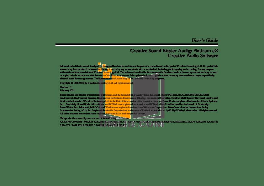Download free pdf for Creative SoundBlaster Extigy Audio