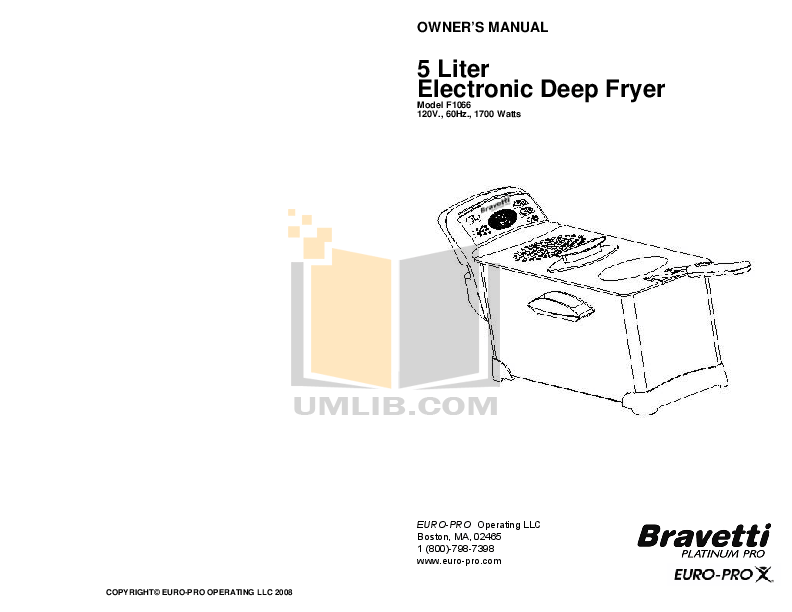 Download free pdf for Euro-Pro F1066 Deep Fryer Other manual