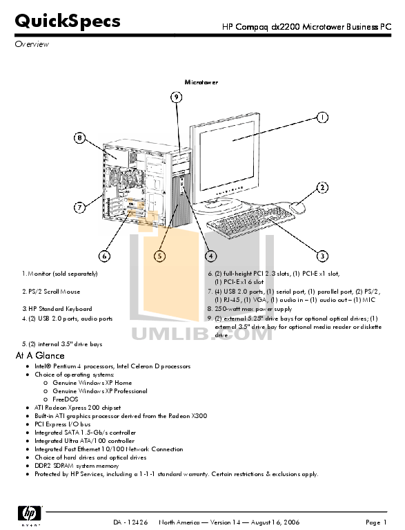 Download free pdf for HP Compaq dx2200 MT Desktop manual