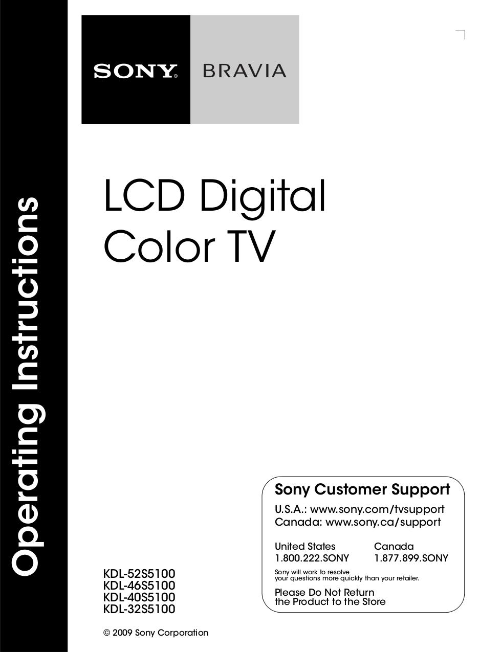 Download free pdf for Sony BRAVIA KDL-52S5100 TV manual