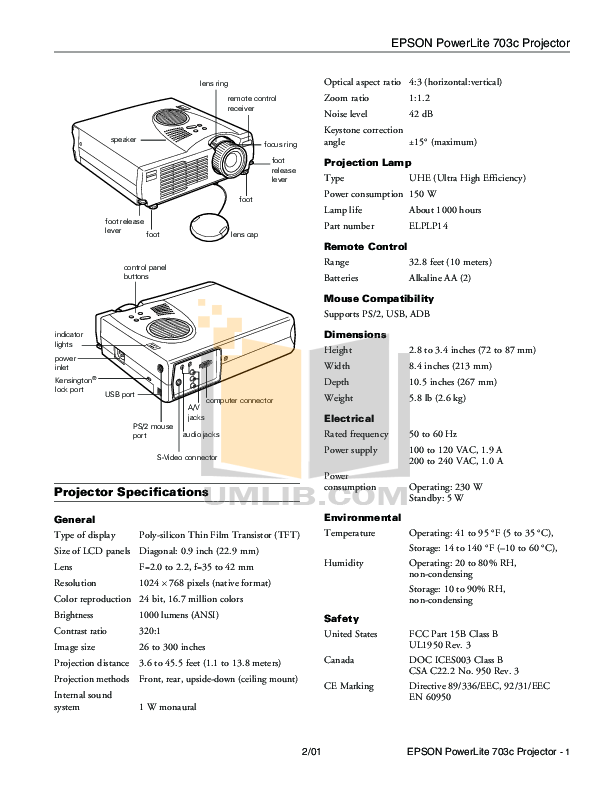 Download free pdf for Epson PowerLite 703c Projector manual