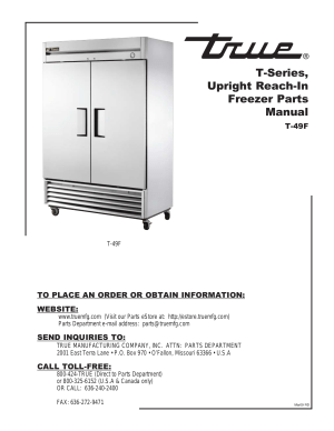 Download free pdf for True T49 Refrigerator manual