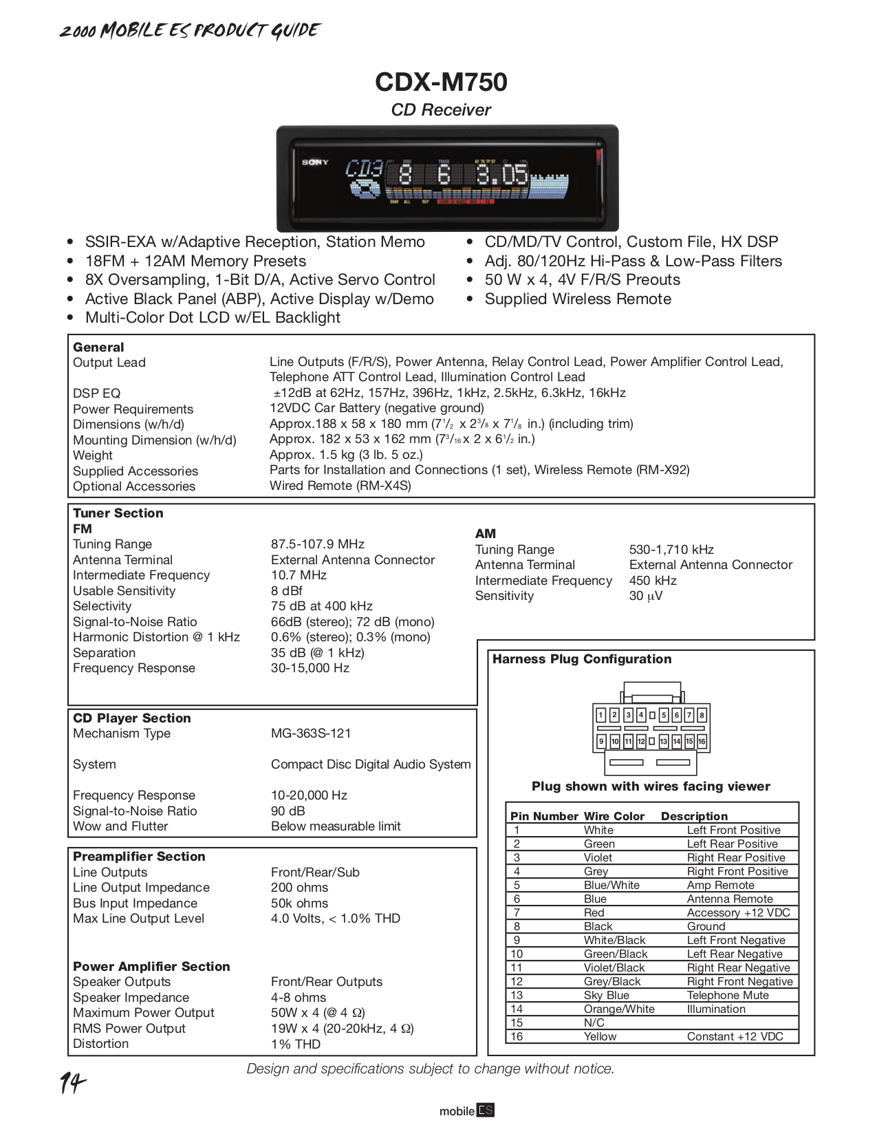 Download free pdf for Sony CDX-M750 Car Receiver manual