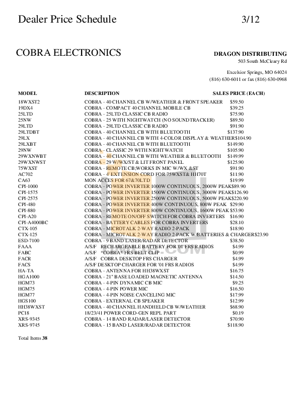 Download free pdf for Cobra CPI 1575 Inverters Other manual
