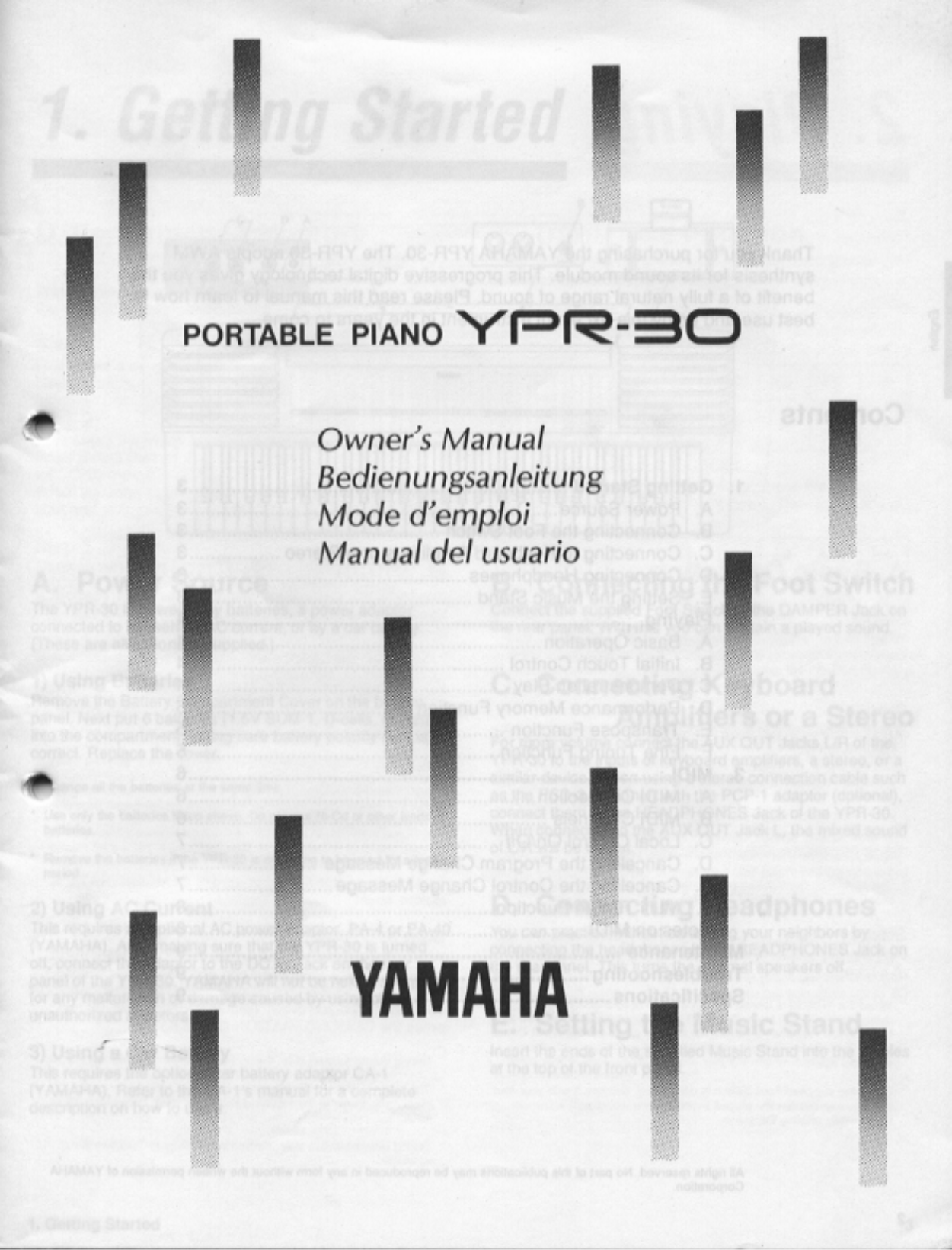 Download free pdf for Yamaha YPR-8 Music Keyboard manual