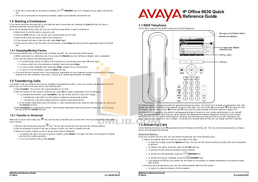 Download free pdf for Avaya 9630 Telephone manual