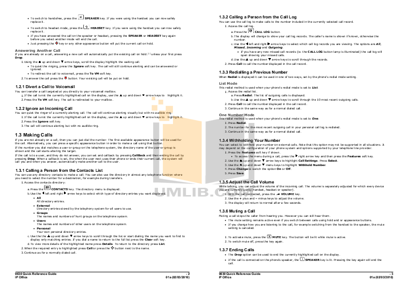 PDF manual for Avaya Telephone 9630