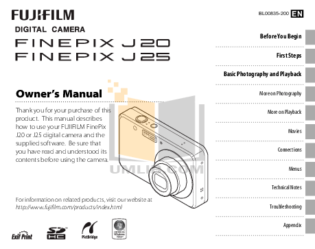 Download free pdf for FujiFilm Finepix J20 Digital Camera