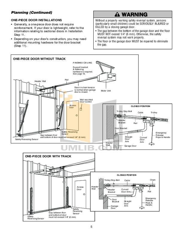 PDF manual for Chamberlain Other CG40 Garage Door Openers
