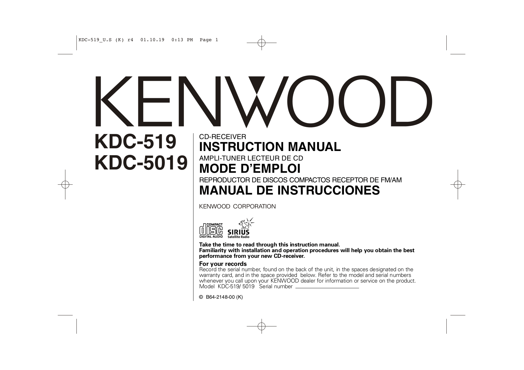 Download free pdf for Kenwood KDC-519 Car Receiver manual