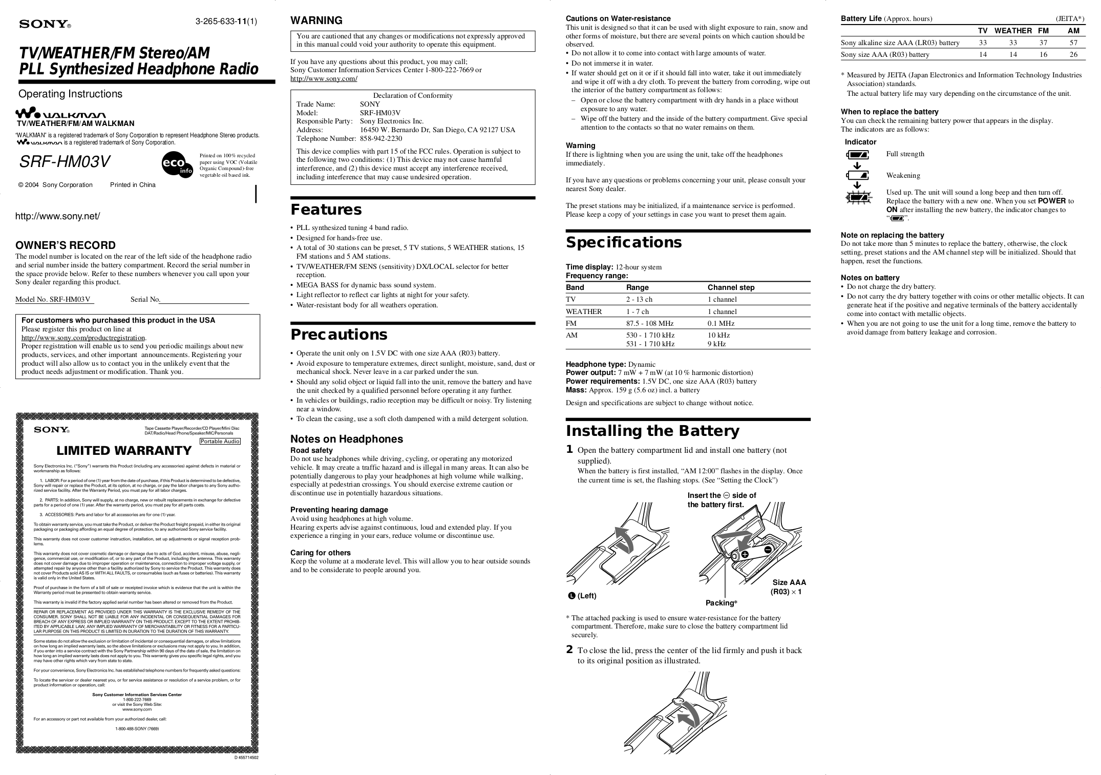 Download free pdf for Sony Walkman SRF-HM03V Radio manual