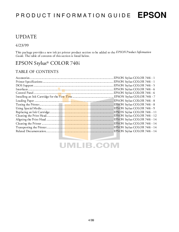Download free pdf for Epson Stylus Color 740i Printer manual