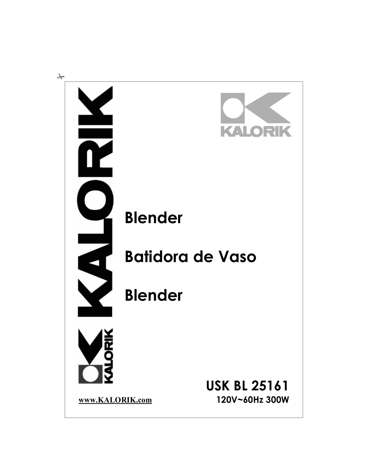 Download free pdf for Kalorik BL-3 Blender manual
