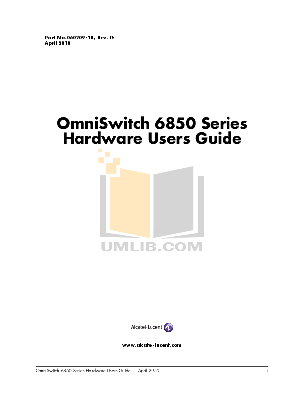 PDF manual for Alcatel-Lucent Switch OmniSwitch 6850-48