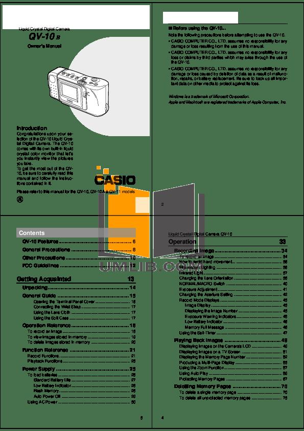 Download free pdf for Casio QV-10A Digital Camera manual