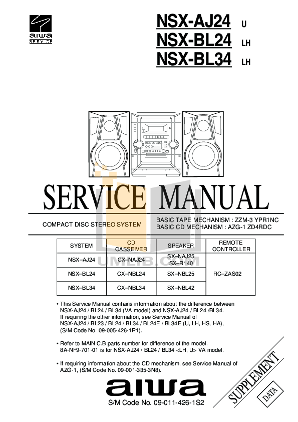 Download free pdf for Aiwa NSX-330 Stereo Systems Other manual