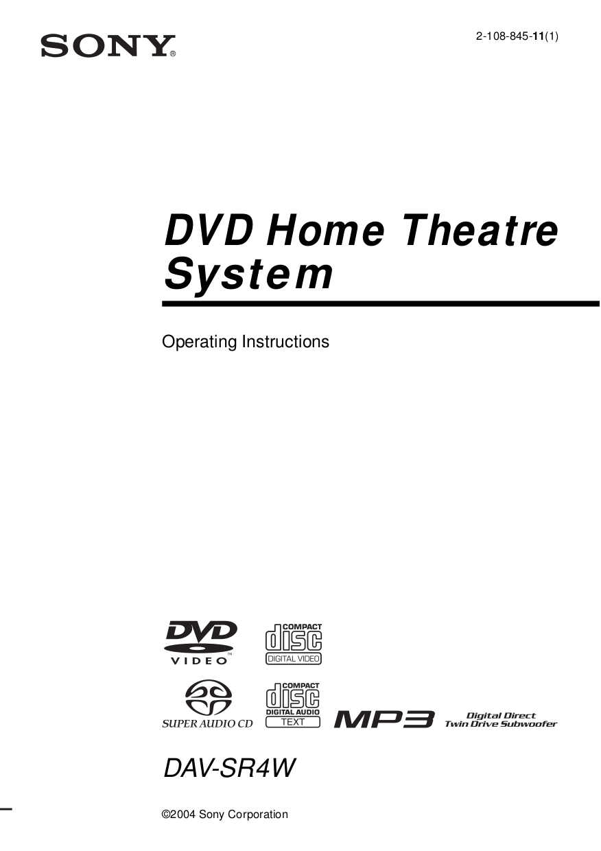 Download free pdf for Sony DAV-SR4W Home Theater manual