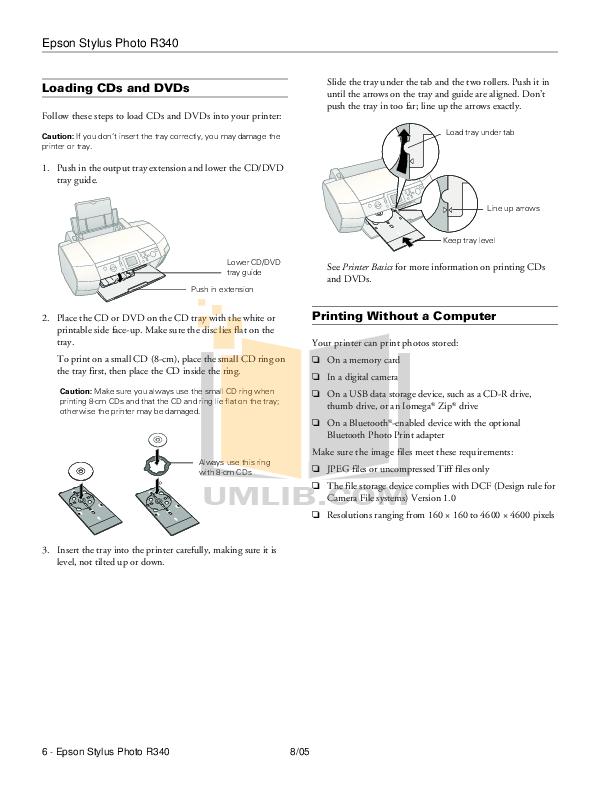 PDF manual for Epson Printer Stylus Photo R340