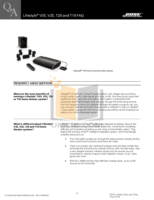 Download free pdf for Bose Lifestyle V20 Home Theater manual