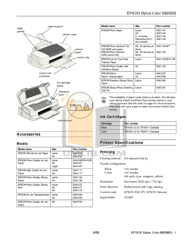 Download free pdf for Epson Stylus Color 880i Printer manual