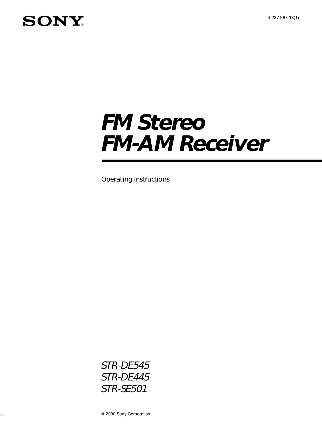 Download free pdf for Sony STR-DE445 Receiver manual