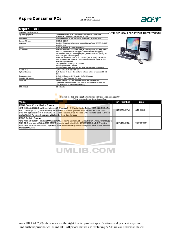 PDF manual for Acer Desktop Aspire E300