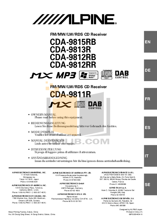 Download free pdf for Alpine CDA-9815 Car Receiver manual