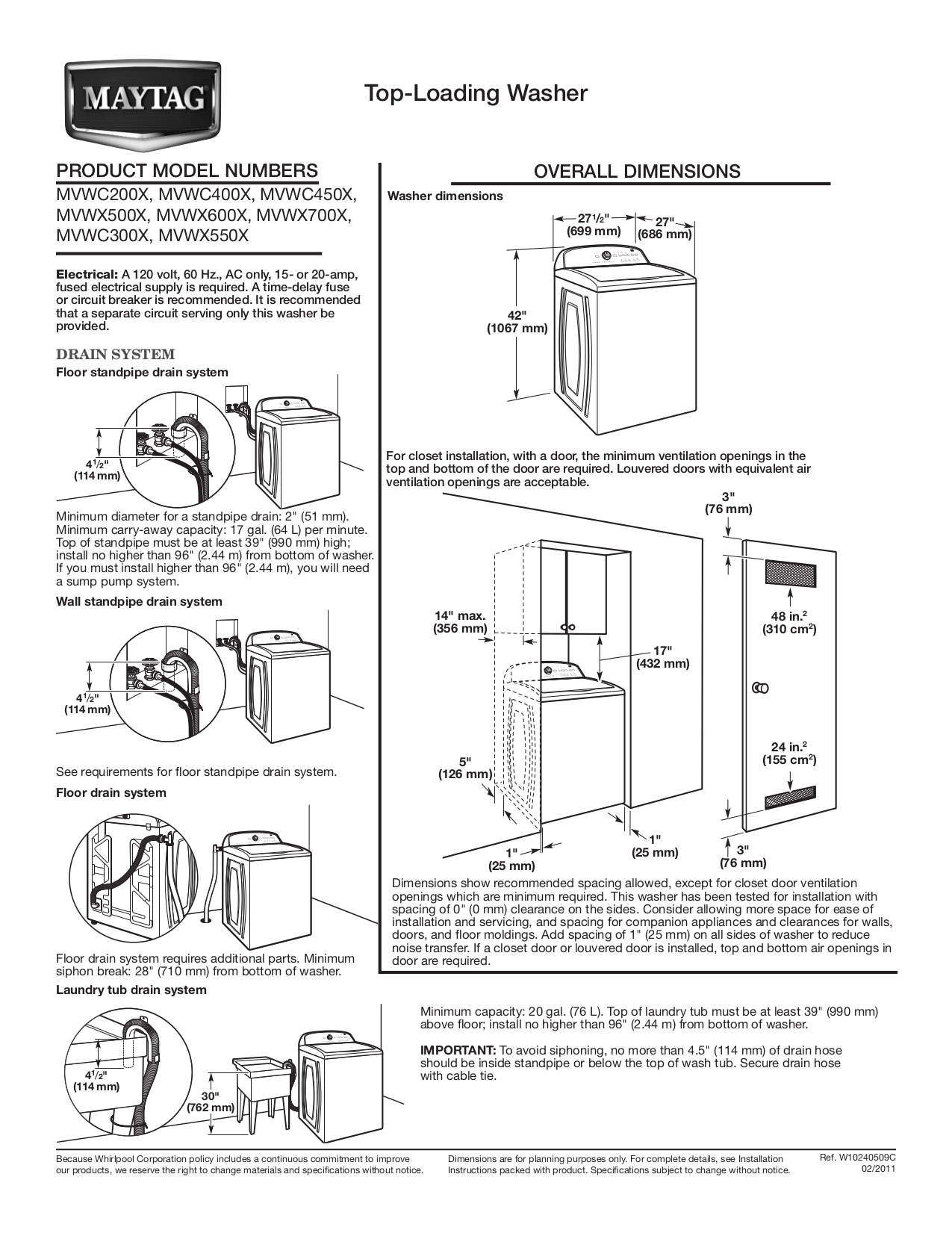 PDF manual for Maytag Washer MVWC400XW