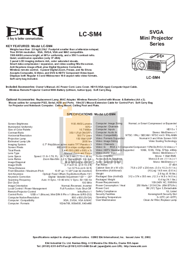 Download free pdf for Eiki LC-SM4 Projector manual