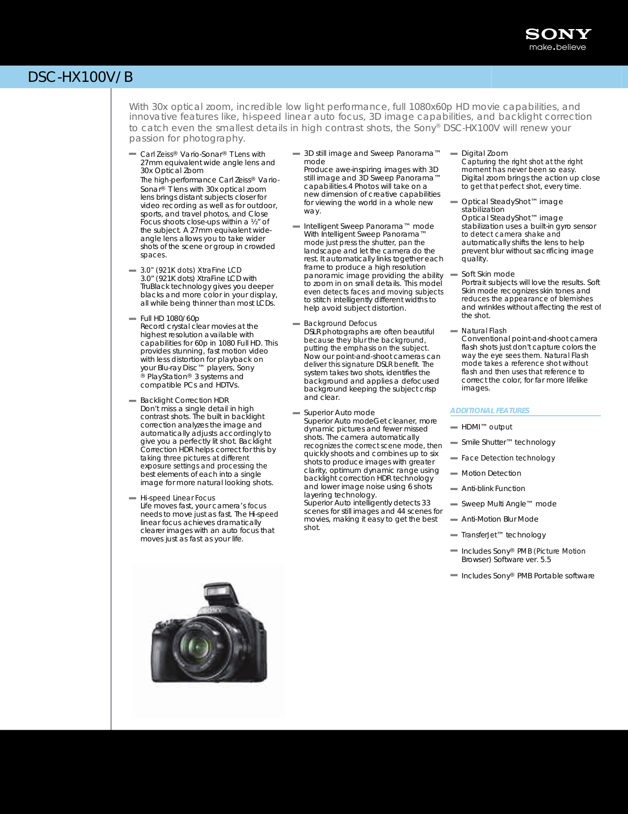 Download free pdf for Sony Cybershot,Cyber-shot DSC-HX100V