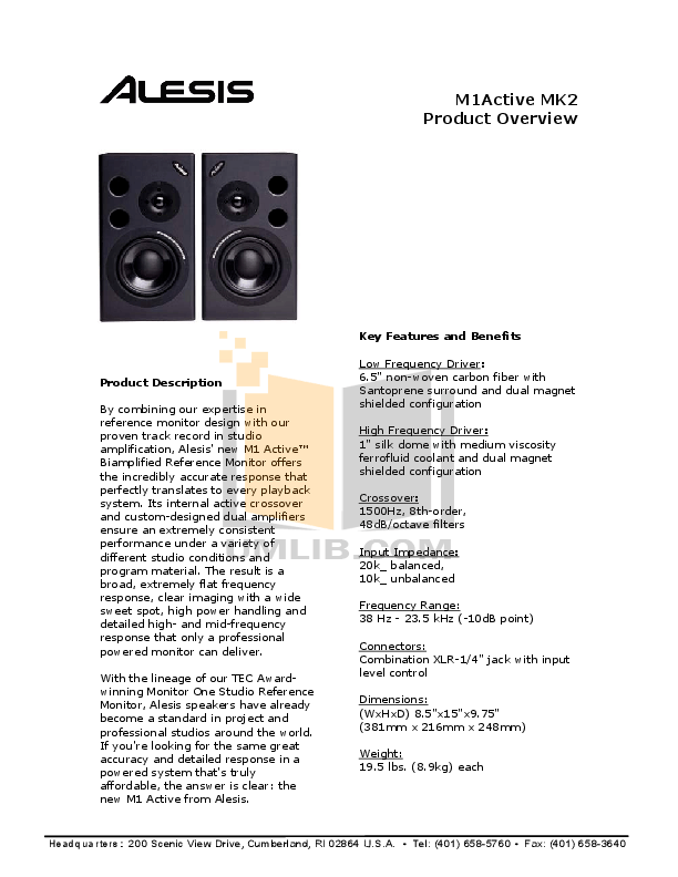 Download free pdf for Alesis M1 Active 620 Monitor manual