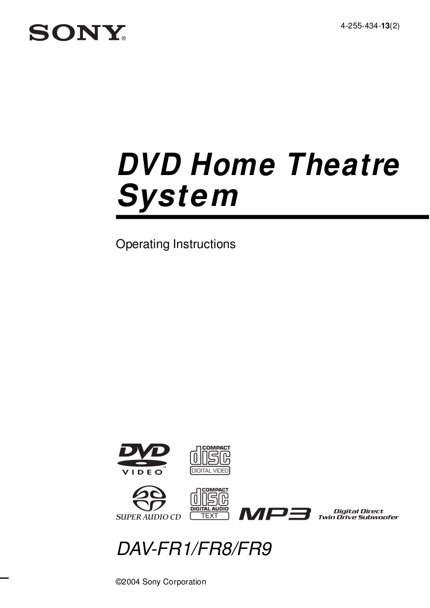 Download free pdf for Sony DAV-FR8 Home Theater manual