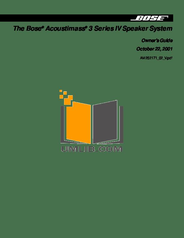 Download free pdf for Bose Acoustimass 3 Series IV Speaker