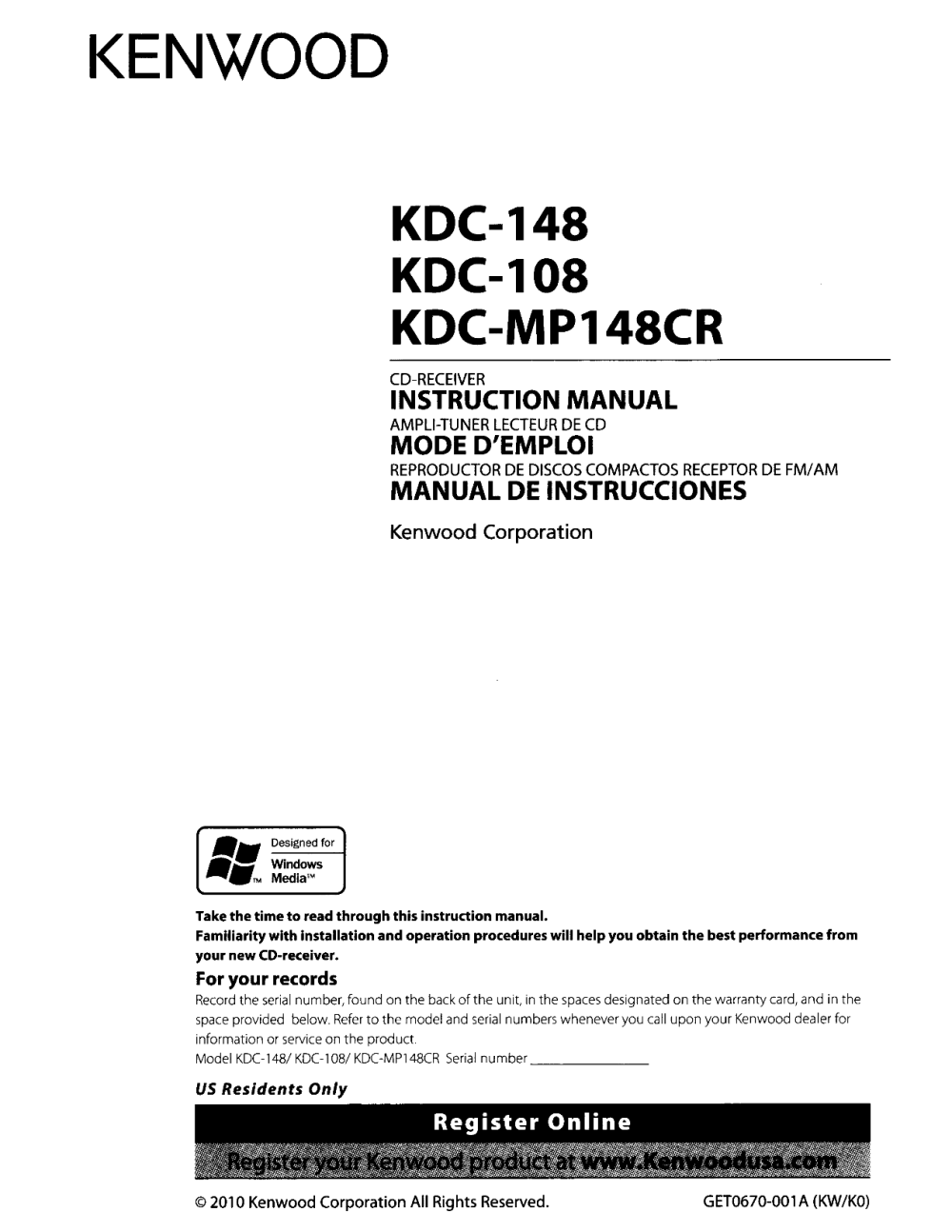 medium resolution of kenwood us instruction manuals kmr 440u kdc wiring harness car audio diagram kenwoo cd player wiring diagram mp342u