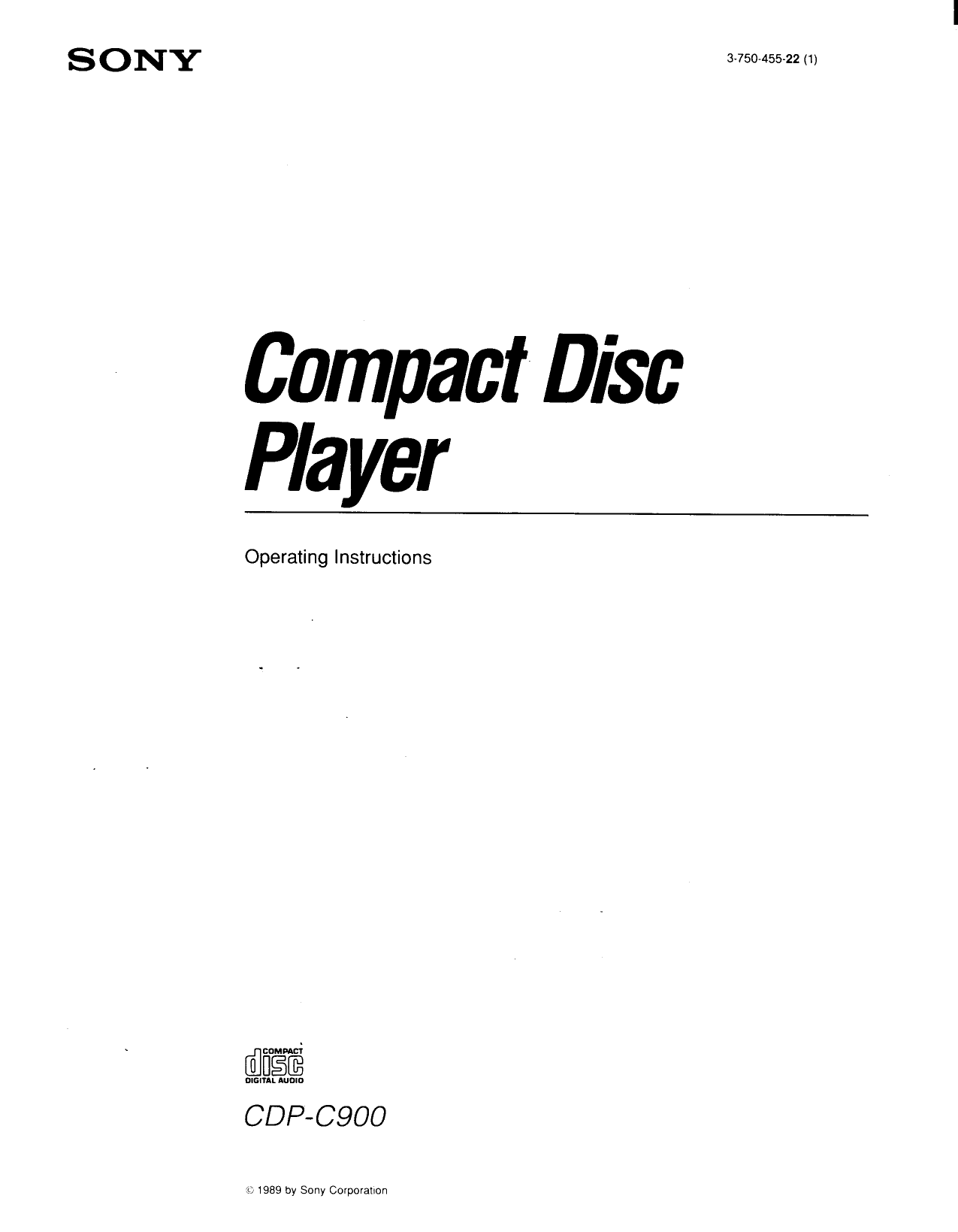Download free pdf for Sony CDP-C900 CD Player manual