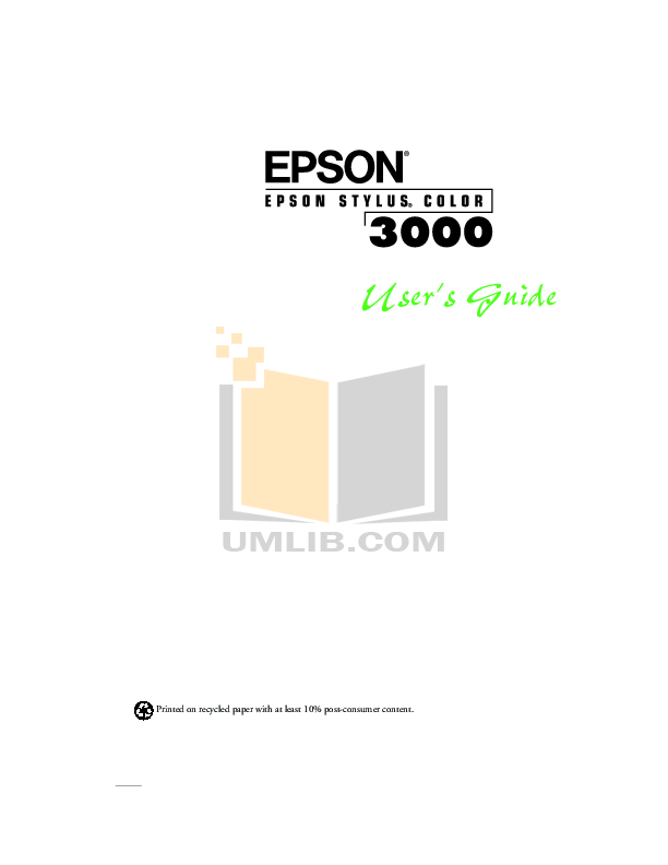Download free pdf for Epson Stylus Color 3000 Printer manual