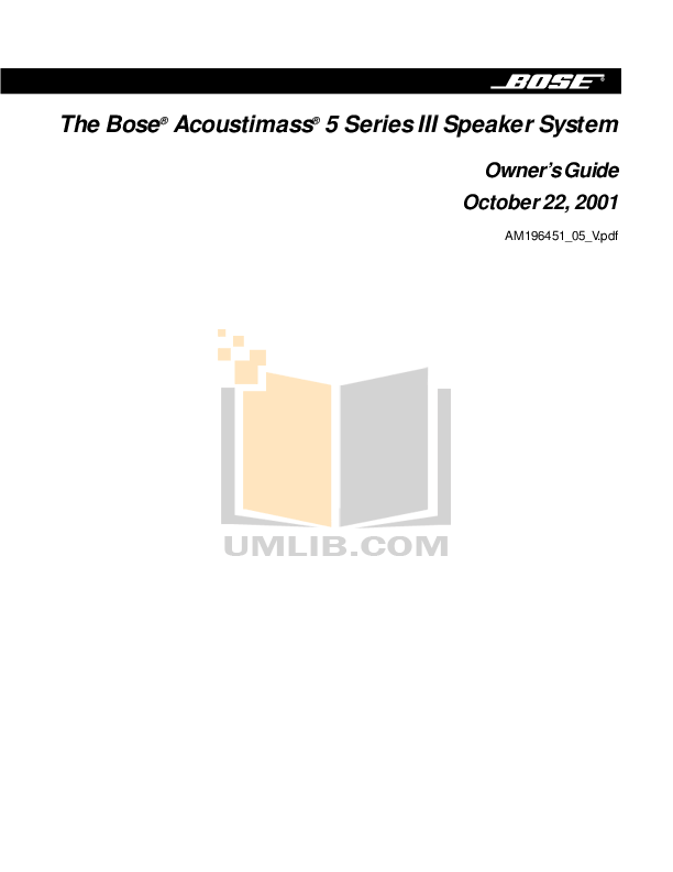 Download free pdf for Bose Acoustimass 10 Series III