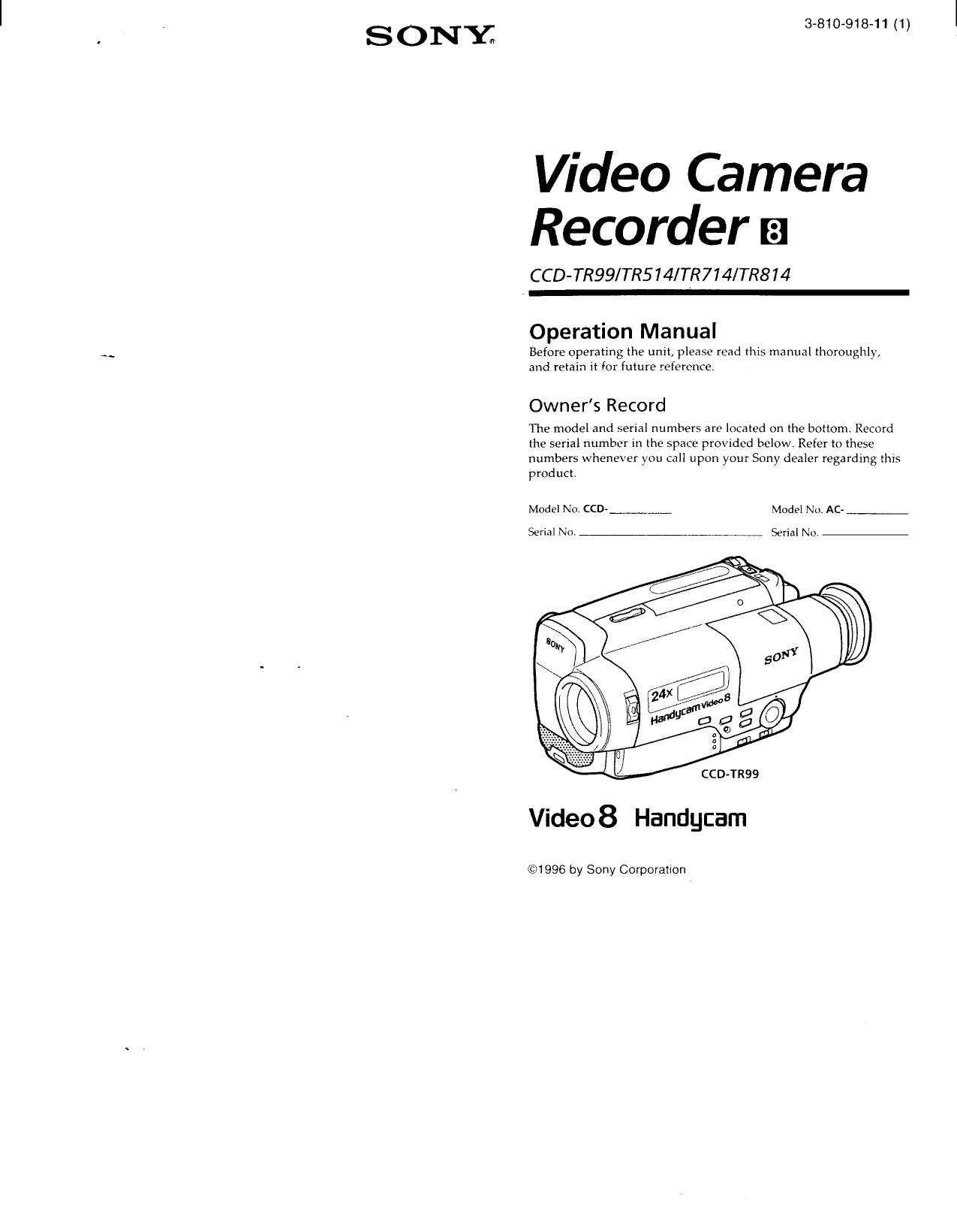 Download free pdf for Sony Handycam CCD-TR7 Camcorders manual