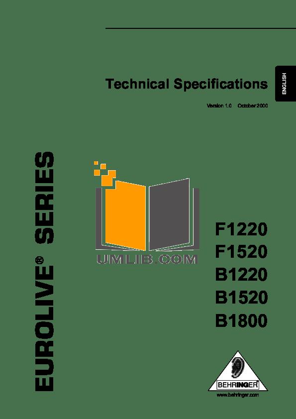 Download free pdf for Behringer Eurolive B1220 Pro Speaker