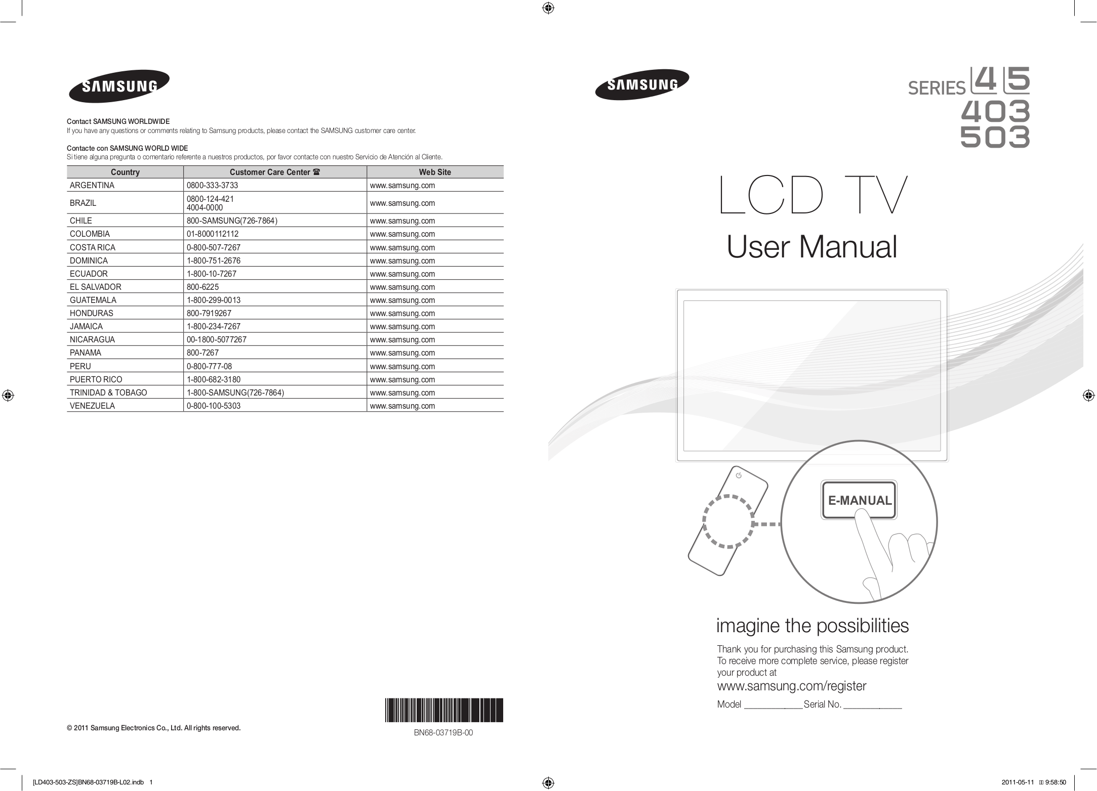 PDF manual for Samsung LCD TV LN32D403