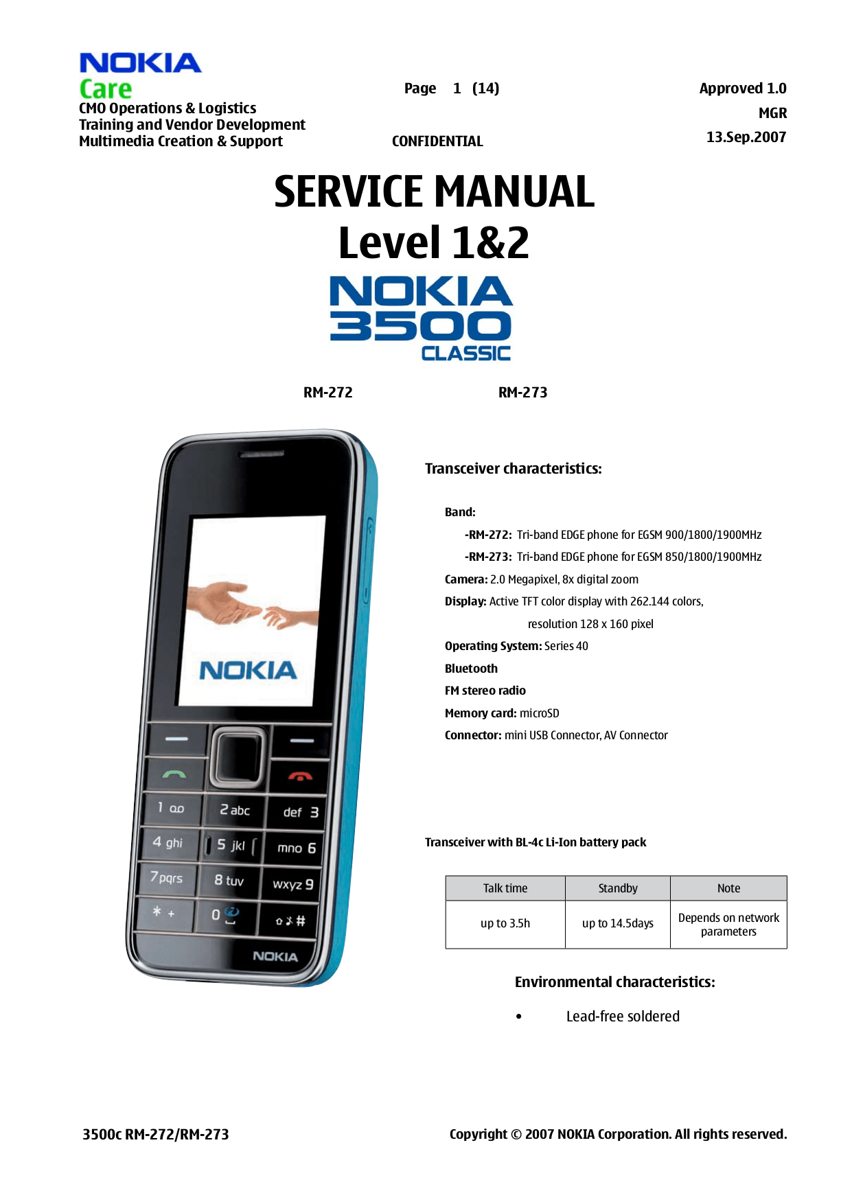Download free pdf for Nokia 3500 Cell Phone manual