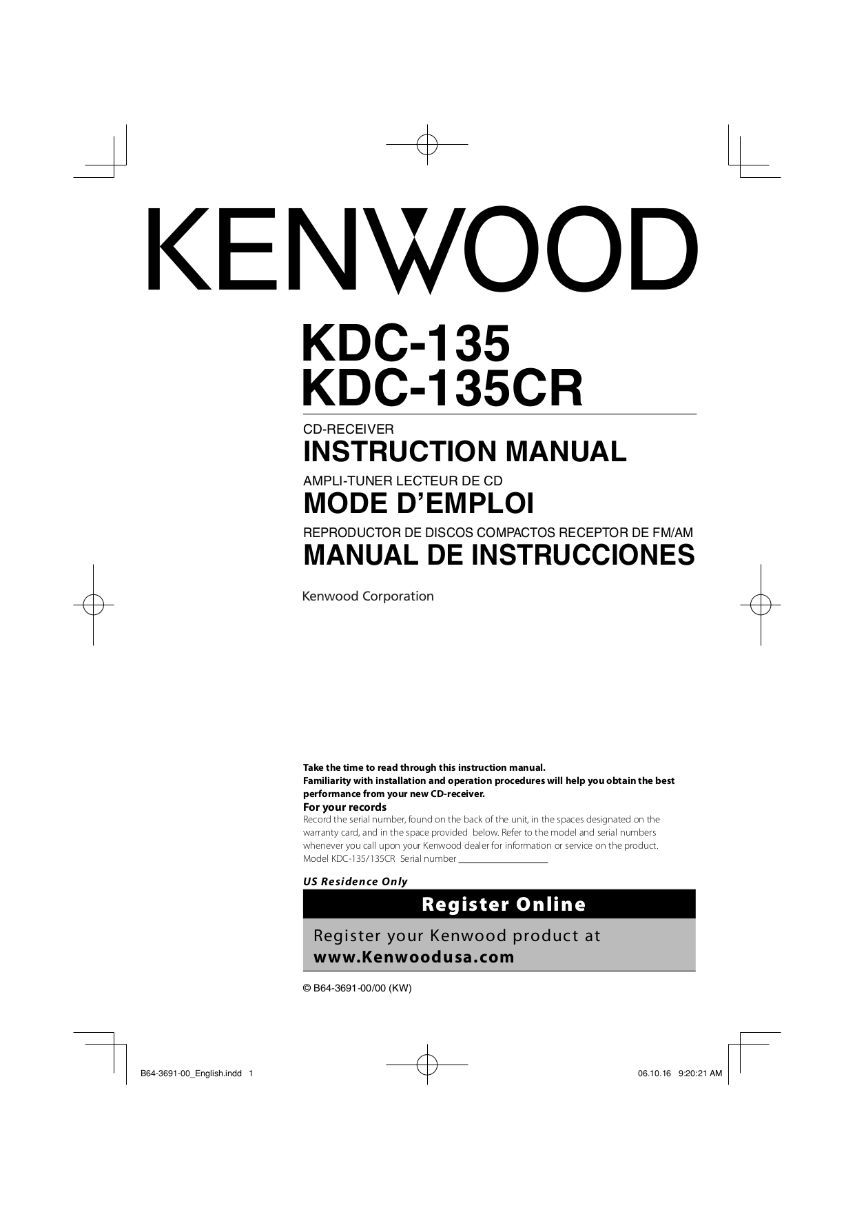 Download free pdf for Kenwood KDC-135 Car Receiver manual