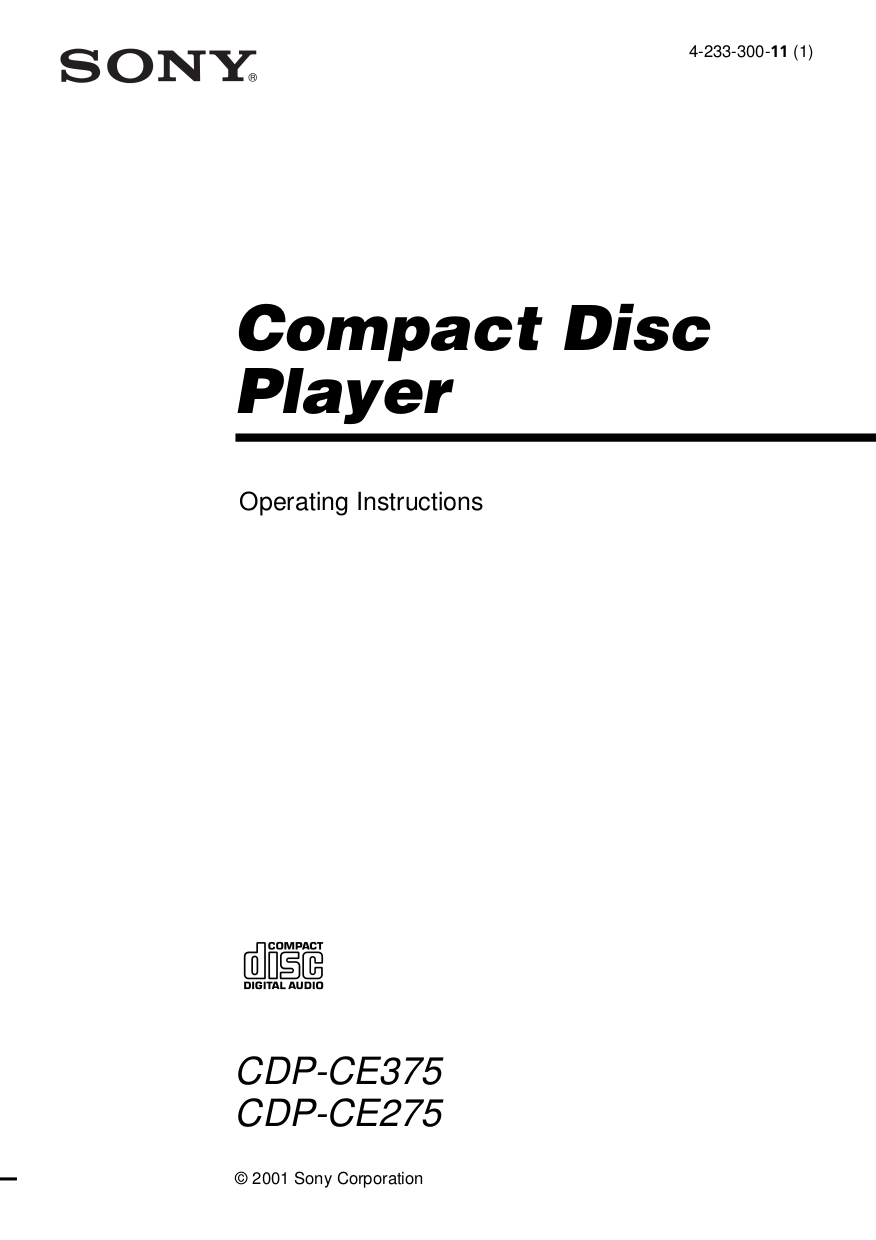 Download free pdf for Sony CDP-CE275 CD Player manual