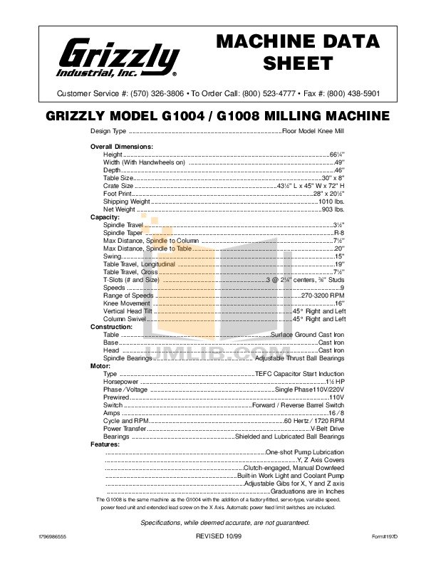 Download free pdf for Grizzly G1004 Milling Machines Other