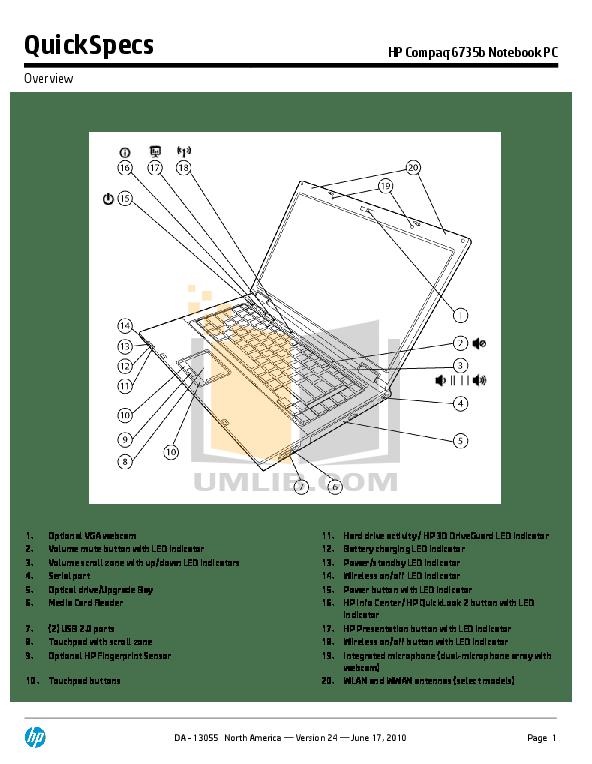 Download free pdf for HP Compaq 6735b Laptop manual